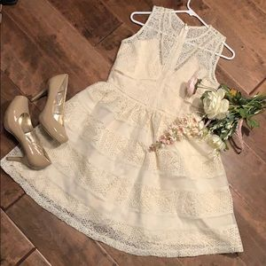 NWT Ivory fit and flare with lace!
